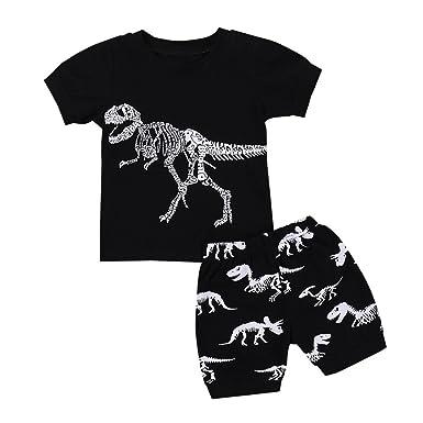 3b48f9560 Hot Sale! Toddler Kids Baby Boys Dinosaur Pajamas Cartoon Print T Shirt  Tops Shorts Outfits Set