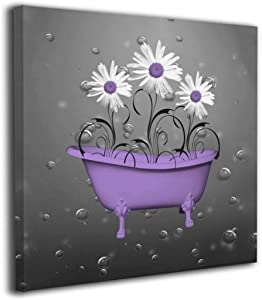 "Yanghl Canvas Wall Art Prints Purple Gray Daisy Flowers Bubbles Modern Decorative Artwork for Wall Decor and Home Decor Framed Ready to Hang 12""x12"""