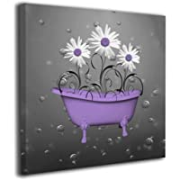Purple Gray Daisy Flowers Bubbles Modern Painting Big Framed Wall Art Picture Print On Canvas The Giclee Artwork for…