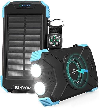 BLAVOR Cargador Solar Móvil 10000mAh Batería Externa Portátil Qi Power Bank Tipo C Puerto de Entrada Linterna Dual, Brújula, A Prueba de Salpicaduras, DC5V / 2.1A: Amazon.es: Electrónica