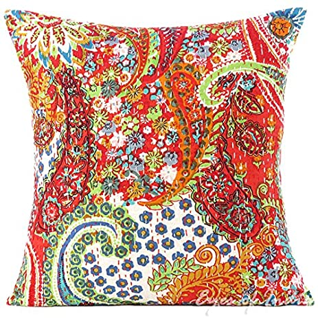 "Amazon EYES OF INDIA 16"" Red Kantha Decorative Throw Sofa"