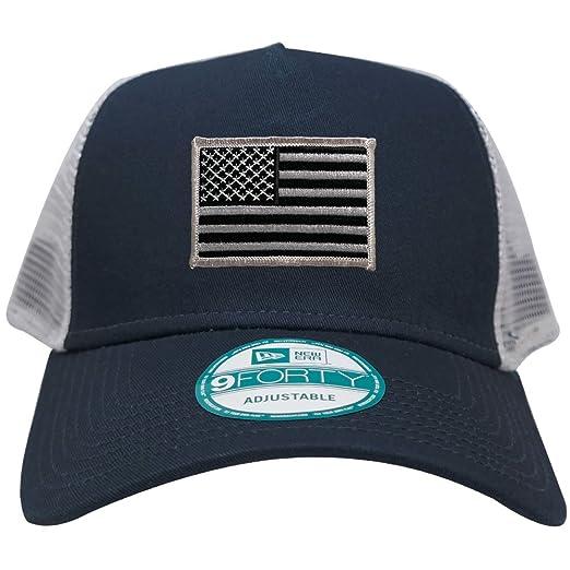 0d718b9b269 New Era 9FORTY 5 Panel USA Flag Patch Snapback Trucker Cap - NAVY - BLACK  GREY