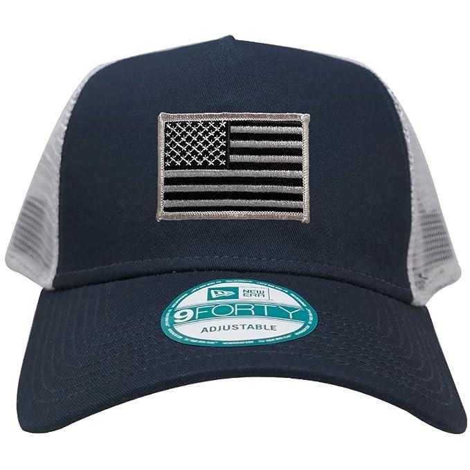 New Era 9FORTY 5 Panel USA Flag Patch Snapback Trucker Cap - NAVY - BLACK  GREY 24fb55b955b