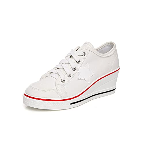 e95c3f0eaaeb Sokaly Womens Girls Wedge Sneakers Ladies Trainer Canvas Shoes High-Heeled  Platforms Lace up Pump Shoes  Amazon.co.uk  Shoes   Bags