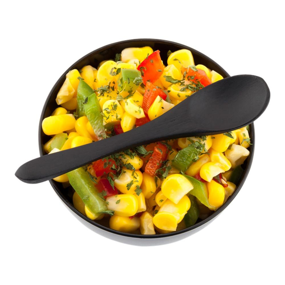 Oval Head Bamboo Spoon, Small Bamboo Spoon - Black - 3.5 Inches - Great for Catering, Buffets, Food Trucks and More - 100ct Box - Restaurantware by Restaurantware