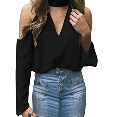 acce461f4aa Voberry@ Women's Chiffon Blouse, Sexy Off The Shoulder Long Sleeve Halter  V-Neck