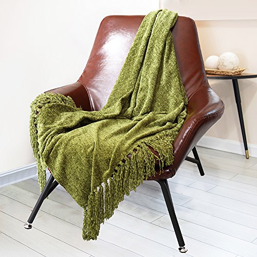 DOZZZ Decorative Chenille Thick Couch Throw Blanket with Fringe Cozy Solid Blanket 60 x 50 Inch, Olive (Olive Green Chenille)