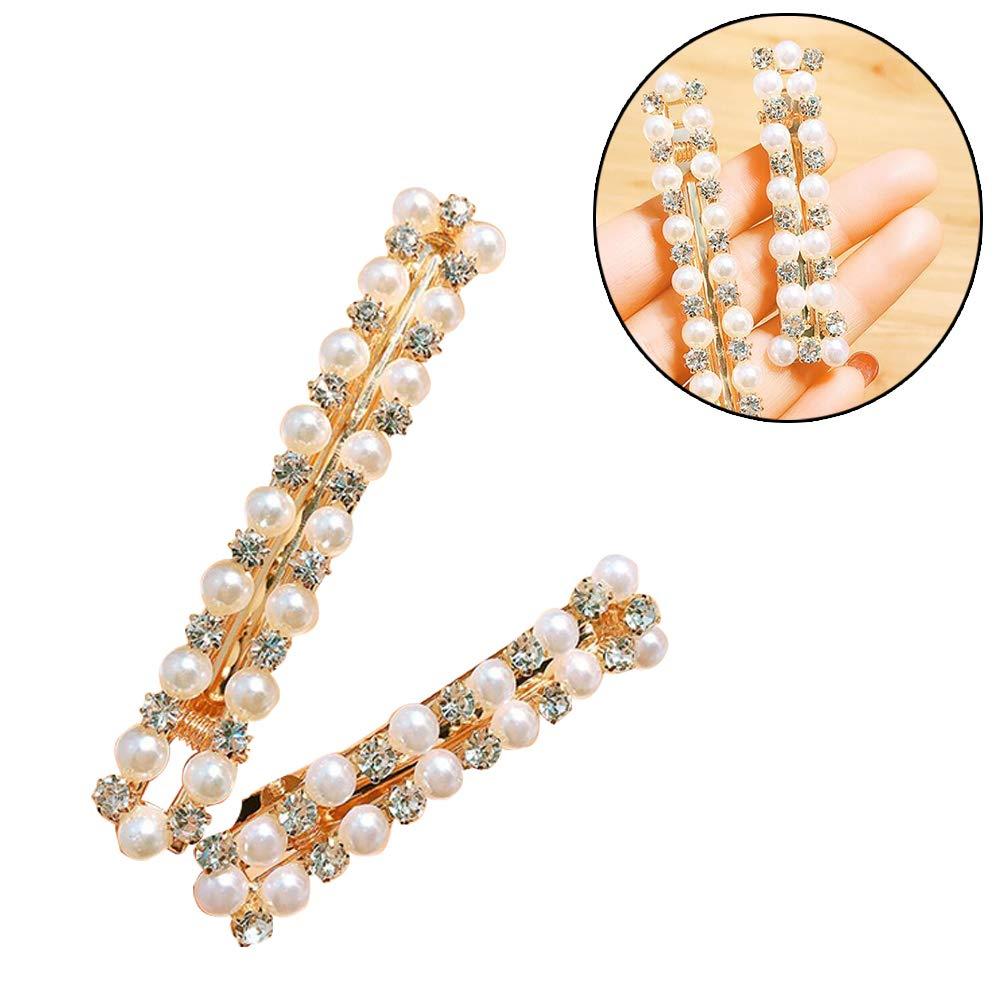 2pcs Boutique Perles Barrettes Glitter Strass Barrettes Cheveux Barrettes /él/égant Accessoires Cheveux pour Les Filles Lady Femmes dor dargent L S
