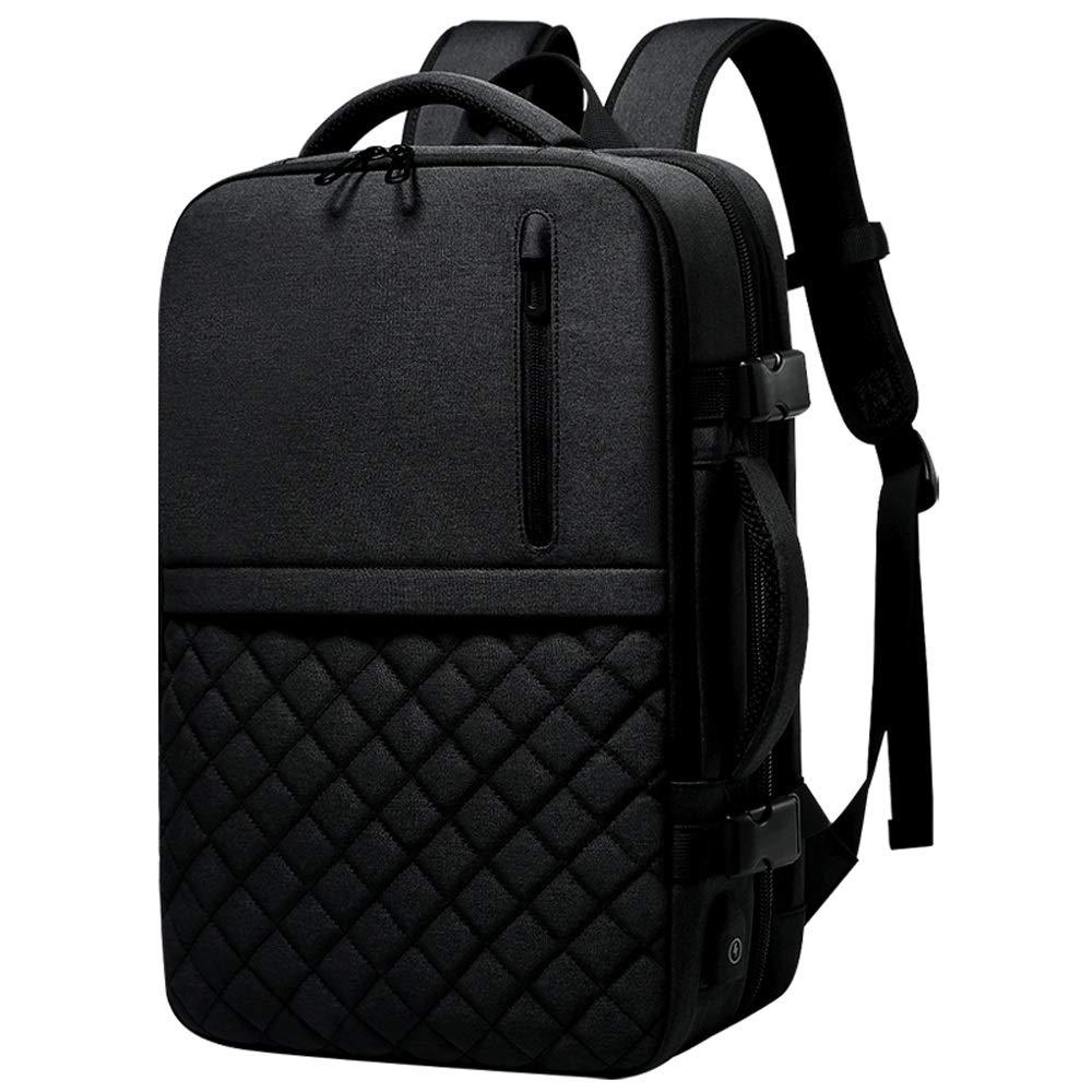L-LK スタイリッシュなレジャー旅行バックパック、ビジネスパック、16インチの軽量ノートパソコンのバックパック、大型バックパック財布、ファッションカジュアルビジネストラベルショルダーバッグ、バックパック防水オックスフォード 黒