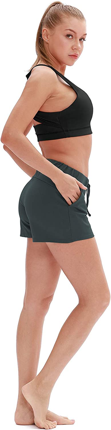 icyzone Running Workout Shorts for Women Gym Yoga Exercise Athletic Shorts with Pockets