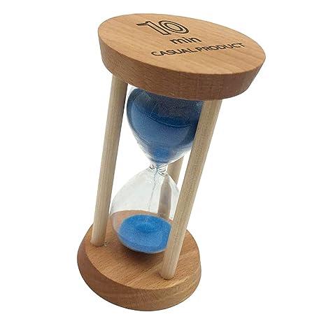 Dolity 10 Minutos Temporizador Reloj de Arena Marco de Madera Ornamento de Escriotorio - Azul