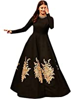 Aarvicouture Womens Cream Tapeta Silk Stitched Long Style Gown With Dupatta For Girls (Aa_1_Cream_Tapeta_Semi Stitched_JFW-125)