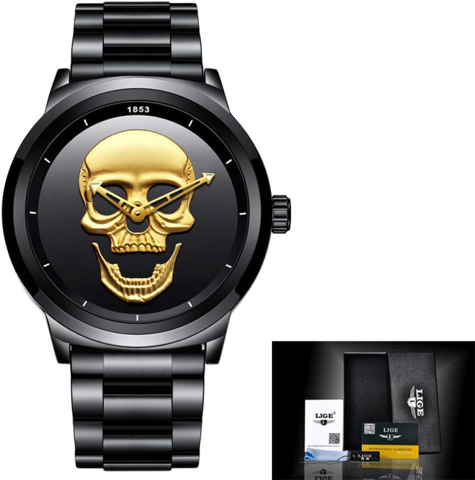 Watch-LUTEM Relojes para Hombre Reloj Calavera Impermeable de Hombre con Correa de Acero Inoxidable, Reloj Casual de Negocios, Puntero Luminoso, Movimiento de Cuarzo