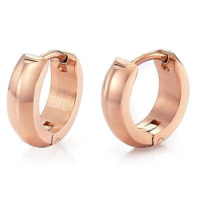 Amazoncom Unique Mens Stainless Steel Hoop Earrings Jewelry Rose