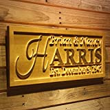 ADVPRO wpa0005 Personalized Family Name Sign Personalized Wedding Gifts Wall Art Rustic Home Decor Custom Carved Housewarming Gift Wooden Signs - Large 26.75