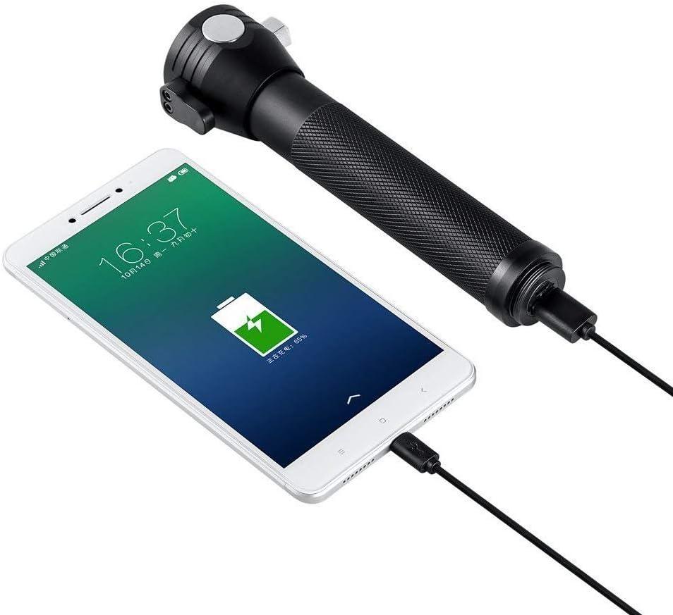 Solar LED Taschenlampe//Taktische Taschenlampe Outdoor Handlampe Solarbetriebene Multifunktions-Taschenlampe Helle LED-Notfackel-Licht mit Sicherheitshammer Gurtschneider f/ür Wandern