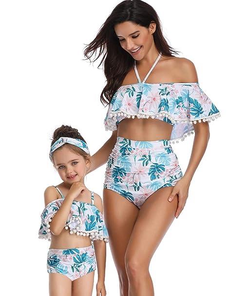 53681fda9b4 Girl's One Piece Swimwear Bikini Sets Family Matching Flounce Bathing  Swimsuits Blue