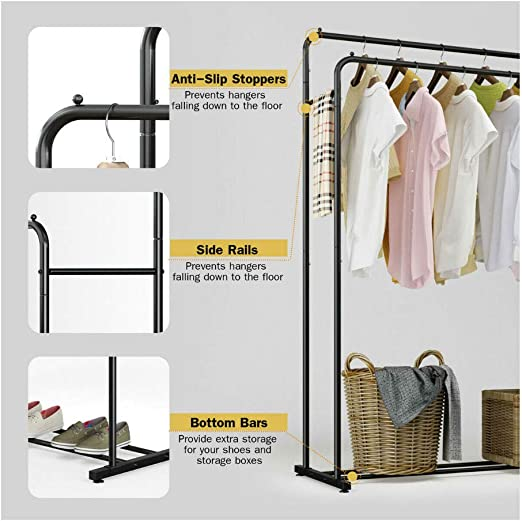 Black Modern Chrome Plated Garment Rack with Adjustable Telescopic Double Rail//Rolling Clothes Hanger