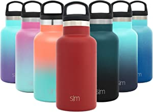 Simple Modern 12oz Ascent Water Bottle - Stainless Steel Hydro w/Handle Lid - Red Double Wall Tumbler Flask Vacuum Insulated Small Reusable Metal Leakproof Kids -Cherry