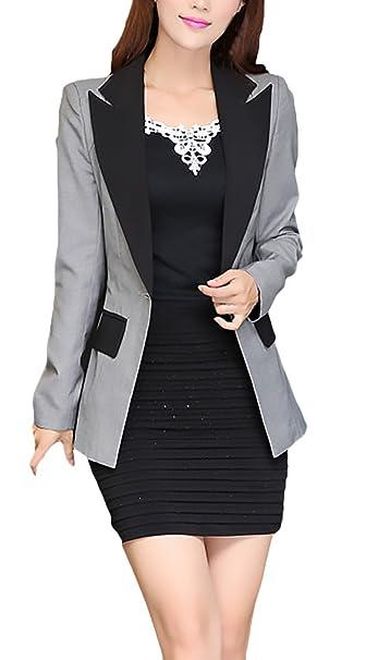 Mujer Blazer Fashion Elegantes Oficina Negocios Chaqueta De ...