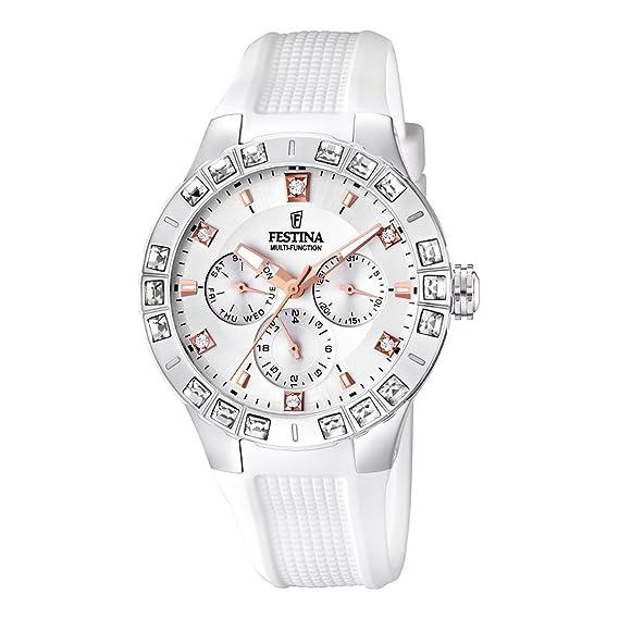 Festina Dream Time - Reloj analógico de mujer de cuarzo con correa de plástico blanca: Festina: Amazon.es: Relojes