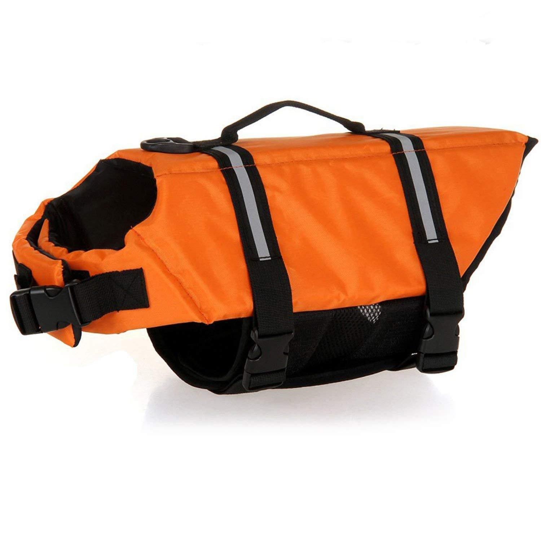 HAOCOO 犬用ライフジャケットベスト 光反射ストライプ/調節可能なベルト付き 犬の多様なサイズに対応 B01HJABF8O Small|オレンジ オレンジ Small