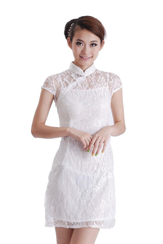 a5edb8ebf Jtc Women's White Lace Chinese Short Cheongsam Dress 1pc at Amazon Women's  Clothing store: Adult Exotic Dresses