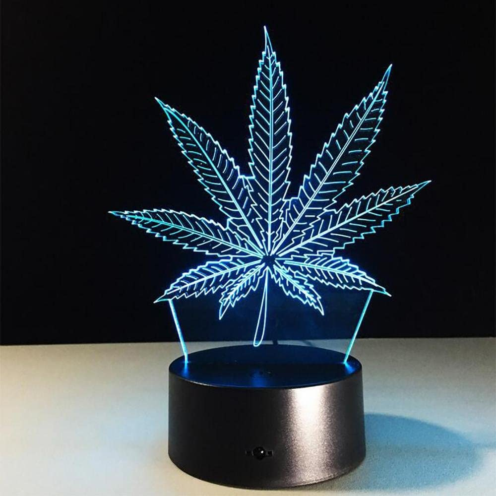 LPY-Hoja de marihuana 3D Ilusión Lámpara Cannabis Weed Optical Visual Night Light Room Party Decor Lighting