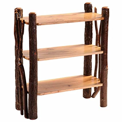 Hickory Open Bookshelf With Twig Accents Real Wood Western Lodge