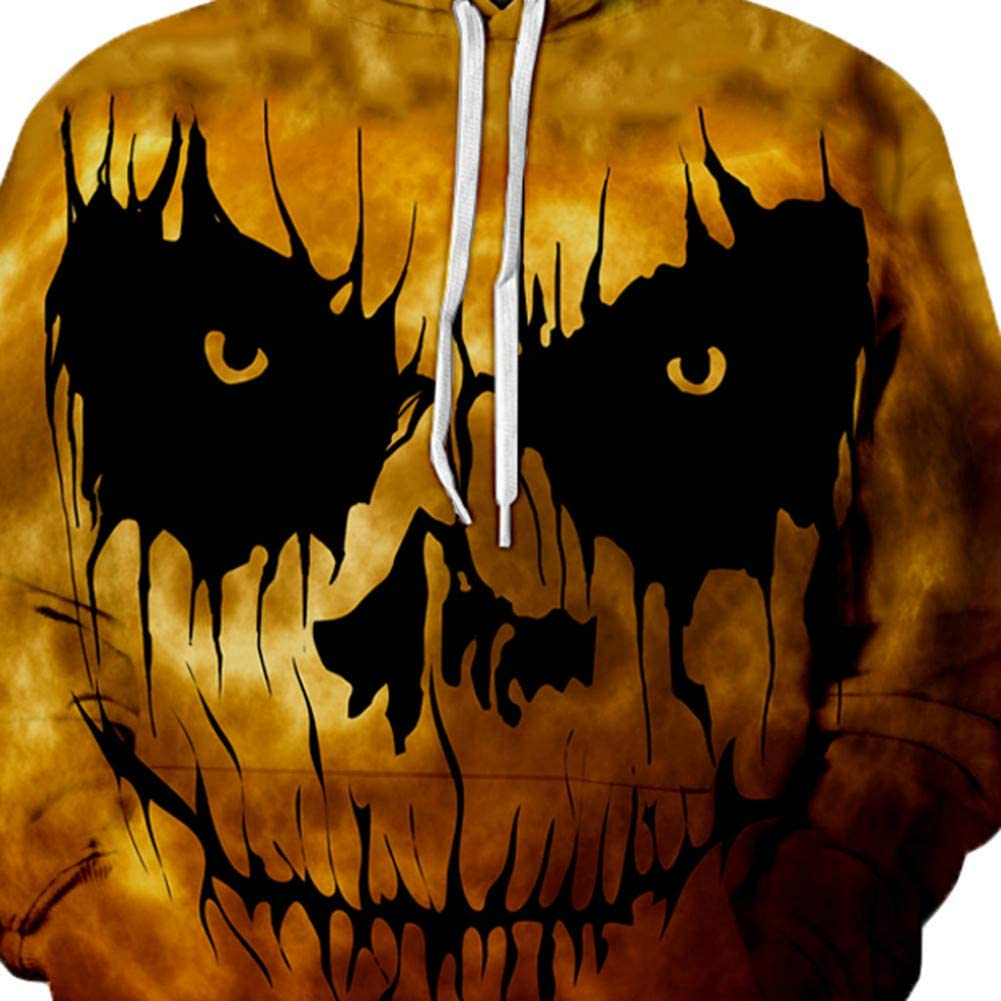 SHOPZZ Halloween Kostüm Halloween Horror 3D Print Party Sweatshirts Kleid Frauen Langarm Pullover Harajuku Kapuzen Sweatshirt Sportswear Bekleidung Yellow
