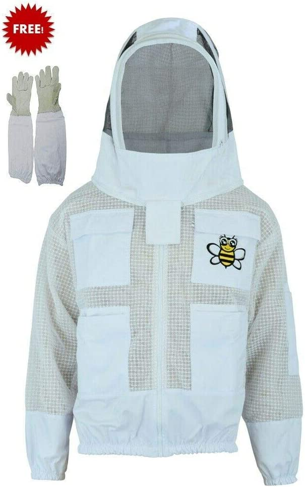 Professional Choice 3 Layer Safety Unisex White Fabric Mesh Beekeeping Jacket Beekeeping Fencing Veil Protective Clothing Beekeeping Clothing Beekeeping Protective Clothing Ventilated Bee-M