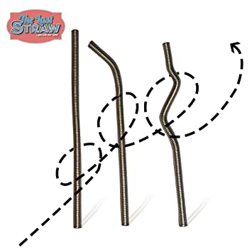 The Last Straw - 10 inch  The ONLY Flexible & Reusable Steel Drinking  Straw  3 Pack Bendable 10