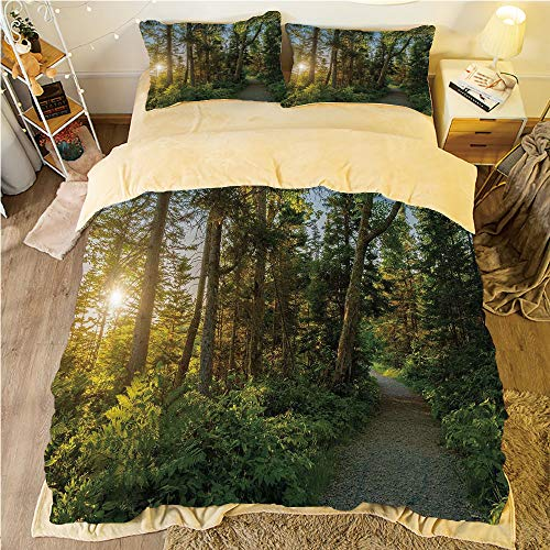 Flannel Duvet Cover Set 4-Piece Suit Warm Bedding Sets Quilt Cover for bed width 5ft Pattern Customized bedding for boys and young children,Landscape,National Park in Cape Breton Highlands Canada Fore ()