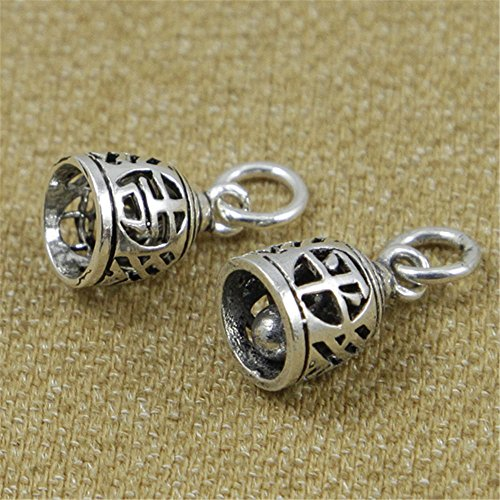 Luoyi 2pcs Bell Thai Sterling Silver Dangles/ Pendants, Hollow, 13*8mm (L027D) (A) (Silver Bell Earrings)