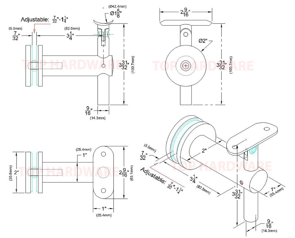 Stainless Steel Glass Mount Handrail Kit: SS316 Handrail Bracket for Round Tube, 1-1/2'' OD Round Tubing [Custom-Made], Flat End Cap, 4 ft Length by Top Hardware (Image #6)