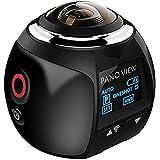 niceEshop(TM) 4K de 360 Grados Wifi Cámara Panorámica Ultra HD 2448x2448 Mini Cámara de la Acción del Deporte de Conducción VR, Negro