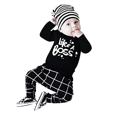 cd5c6f28e2372 Lanpan baby Boy Outfit Lettering Printed Long Sleeve T-shirt Tops Pants Set