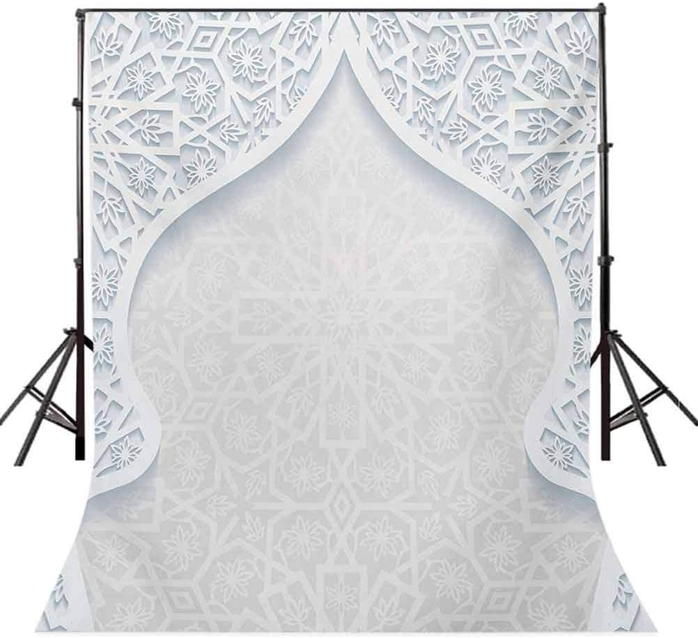 Arabesque Style Arched Royal Persian Figure with Floral Cultural Graphic Design Background for Baby Shower Birthday Wedding Bridal Shower Party Decoration Photo Studio 10x12 FT Photography Backdrop