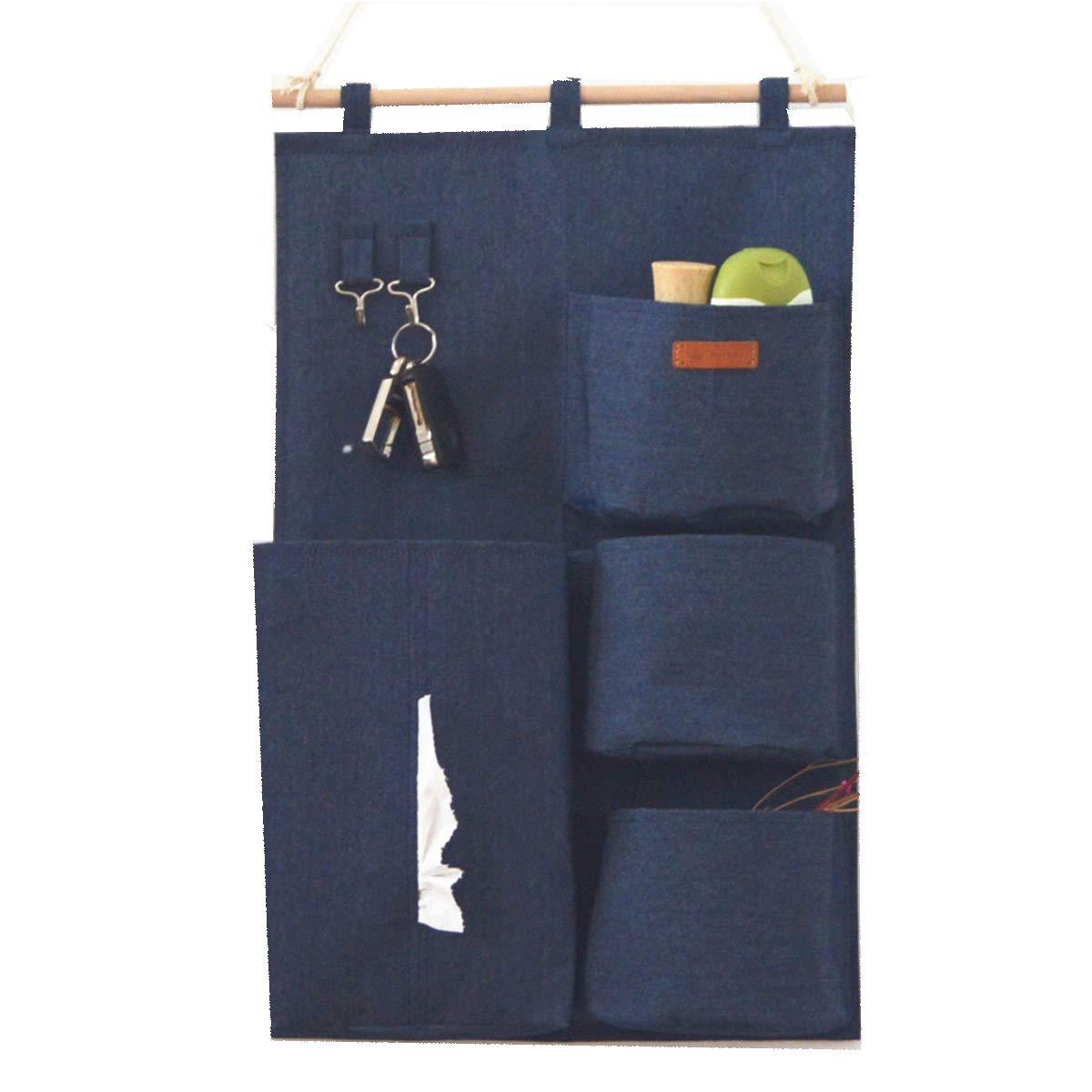 SMART HOME CHEF Denim Fabric Over Wall Door Closet Window Hanging Storage Case Organizer Bag 4-Pocket Wall Hanging Multipurpose Accessory Organizer with 2 Hooks
