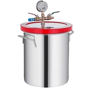 Bestauto 5 Gallon Vacuum Chamber Stainless Steel Vacuum Degassing Chamber 160F Acrylic Lid Kit