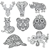 Adult Coloring Mandala Style Animal Blank Note Cards 24 pack