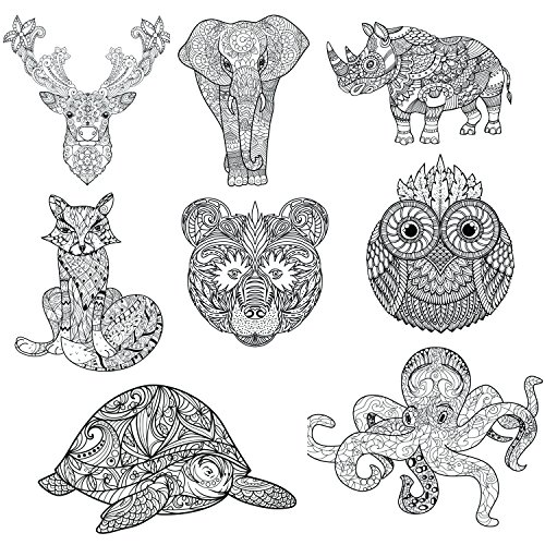 Adult Coloring Mandala Style Animal Blank Note Cards 24 pack by Oospecka