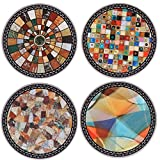 SxinHome Absorbent Ceramic Stone Coasters for Drinks,Mosaic Stitching,Set of 4