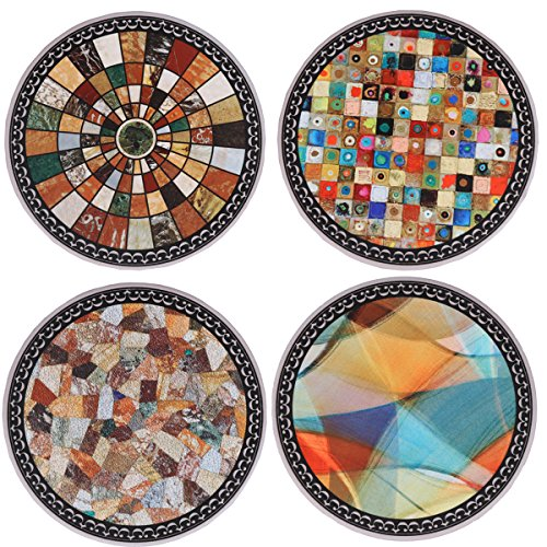 SxinHome Absorbent Ceramic Stone Coasters for Drinks,Mosaic Stitching,Set of ()