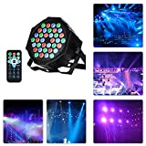 Led Par Can disco lights 36W 36LED DMX512 RGB 7 Lighting Modes Disco Lighting Effect Dj Stage Lights Sound Activated Spotlight Projector with IR Remote Control Microphone for DJ KTV Disco Parties