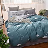 Mumgo Home Bedding for Adult Kids Rainy Day Clounds Pattern Duvet Cover Set 100% Cotton Twin Full/Quee Size - Not Include Any Comforter (Twin Size(3Pc/Set-Pillowcase RANDOM Delivery ), Color-2)