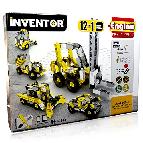 Engino Inventor - Build 12 Construction Vehicles | BUILD  Excavator, Bobcat, Dump Trucks, Wheelbarrow, Forklift, and other industrial vehicles | NO BATTERIES REQUIRED | Great STEM Product