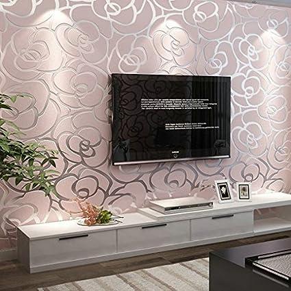 Wxzq Nlb 3d Non Woven Cloth Wallpaper Rose Gold Floral Bedroom