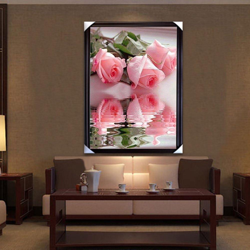 La Cabina 5D Peinture en Diamant DIY Point de Croix en R/ésine D/écoration de Maison Salon Chambre Roses