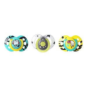 Tommee Tippee Day & Night Pacifiers, Glow-In-The-Dark, BPA-free, 18-36 Months, 3 Count (Colors May Vary)